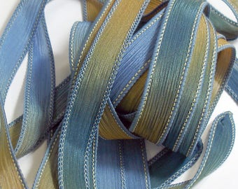 "GRANDMA'S ATTIC 42"" hand dyed wrist wrap bracelet silk ribbon//Yoga wrist wrap bracelet ribbon//Silk wrist wrap ribbon//By Color Kissed Silk"