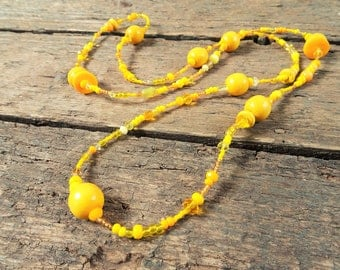 Long beaded Necklace, yellow, long necklace, beaded necklace, gift for her, bohemian necklace, birthday gift, gift for mom, boho jewelry