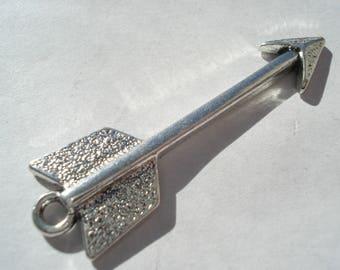 46mm Zinc Based Alloy Pendant, Antique Silver Arrow Pendant, C207