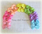 "Wholesale-2"" Mini Bow Clips-Pastel Rainbow Bow Set-Made In America-Bow Tie Hair Bows-Show Fillers-Craft Show Supplies."