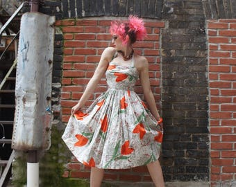 PUNCHY TULIPS 1950's Modernist Oversize Floral Printed Cotton Sundress with Halter Neck and Full Swing Skirt
