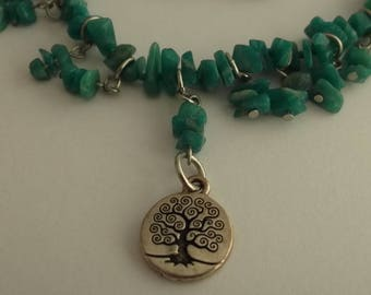 Amazonite necklace, silver pendants and pendant small