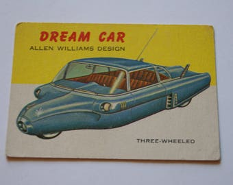 Vintage TOPPS 1953 To 1955 World On Wheels Card Number 107 Williams Dream Car Red Back Variety