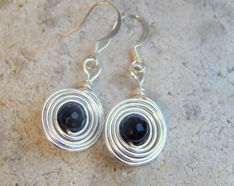 Obsidian Earrings, Obsidian Sterling Silver Dangle Earrings, Black Earrings, Silver Drop Earrings, Birthday Gifts, Gifts for Her