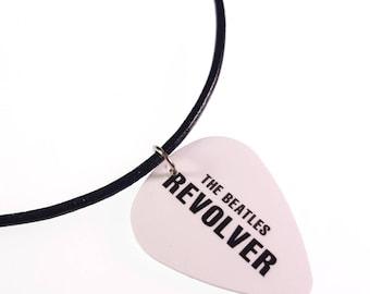 The Beatles REVOLVER Album Cover Art Genuine Guitar Pick Necklace