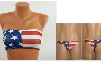 American flag bikini/Bandeau bikini top and thong bottoms/Swimsuits women/Plus size swimwear/4th July/Bathing suits/Bandeau bra/Bikini set
