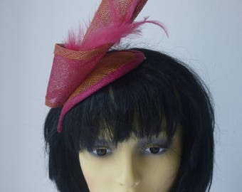 Fuchsia Pink and Orange fascinator with pink feathers