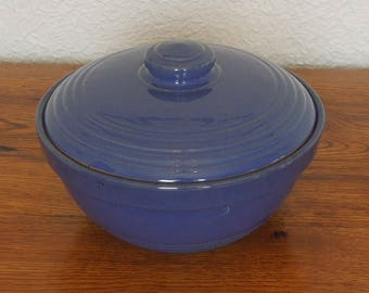 Antique Vintage Stoneware Yelloware Cobalt Blue Casserole Dish With Lid