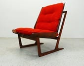 mid century Danish modern Grete Jalk floating bentwood lounge chair with sleigh legs