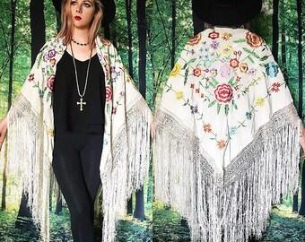 1920s Stevie Nicks Bohemian White Floral Fringe Gypsy Piano Shawl Duster