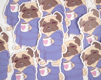 "Sleepy Pug 3"" Vinyl Sticker"