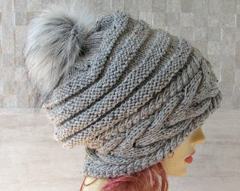 Parisian style, Winter Hat Kniited Beanie Hat, Knit Hat for Women Knit Hats Women, Unique grey Hat with Pom Pom