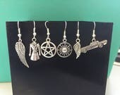 Asymmetrical Mix Match Supernatural silver Earrings, Choose from pentagram, wing, impala, trench coat, protective symbol