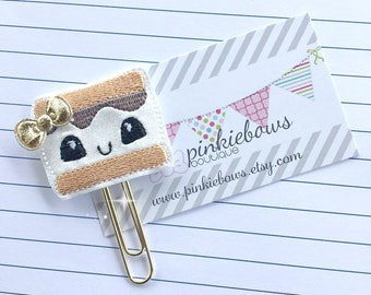 Kawaii/Chunky Smore/Sparkle Applique Paper Clip/Planner Clip/Bookmark/Journal Marker