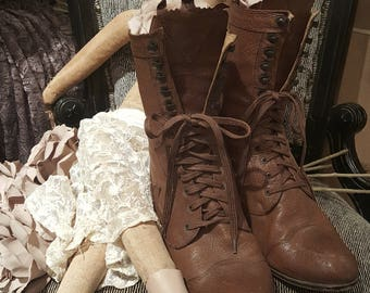 Vintage 1980's John Fluevog Brown Leather Victorian Steampunk Granny Boots~Made in England Sz. UK8