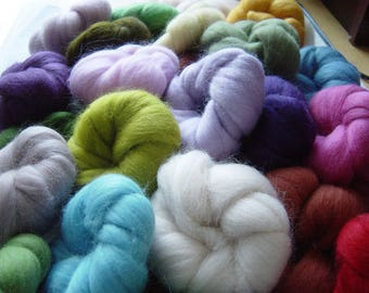 32 Colours - wools,  200 grams of Soft felting wool fibre, Great gift idea