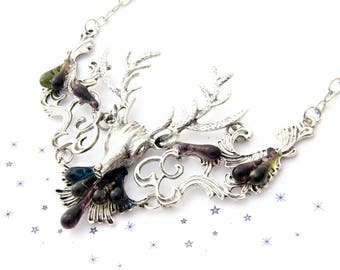 Deer head bib Choker necklace Teardrop murano glass Lampwork