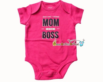 Mom Is the Boss Bright Pink Short Sleeve Baby Girl Statement Onesie - Push Present for New Moms, Baby Shower Gift, Bodysuit, Shirt, Top