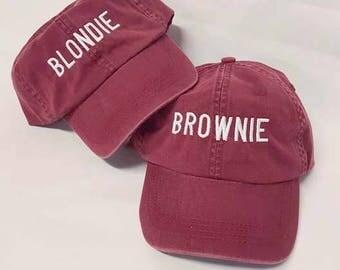 Blondie and Brownie Dad Hat Deep Nautical Red Burgundy and White Best Friends Blonde Brunette
