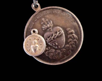 Antique Tiny French Sacred Heart Cast Medal Necklace