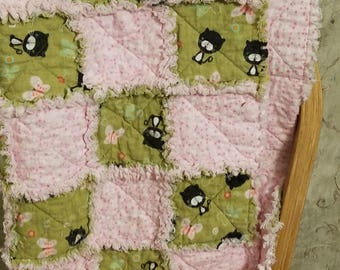 Pale pink and sage green cat and butterfly baby girl rag quilt