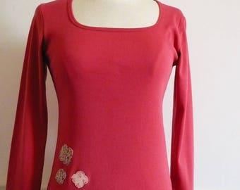 T-shirt pattern coral hydrangea flowers