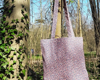 tote bag / blue/red floral cotton tote bag
