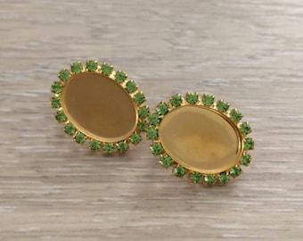 Clip On Rhinestone Earrings, 18x13 mm, Cabochon Setting, 1 pair