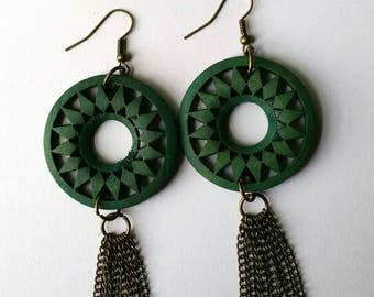 Green and Bronze Tassel Earrings