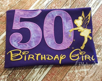 Tinkerbell Fairy-Inspired Birthday Shirt - 16th - 21st - 40th - 50th - 60th - Custom Birthday Tee 704 purple