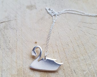 Swan Necklace Pendant, Sterling Silver Swan, Silver Swan Necklace, Swan Jewellery, Birthday Gift, Animal jewelry