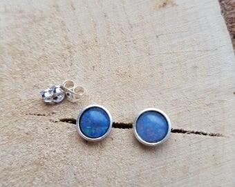 Opal Earrings, Sterling Silver Earrings, Gemstone Earrings, Stud Silver Earrings, Birthstone Earrings