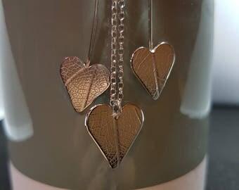Heart Necklace Heart Earrings Jewellery Set Leaf Necklace Leaf Earrings Nature Jewellery Necklace Earrings Set