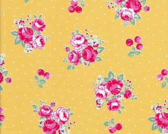 Pink Rose Clusters - Pink Flowers - Cherry Fabric - Polka Dots - Yellow Fabric - Flower Sugar Berry Fabric - Lecien Fabric