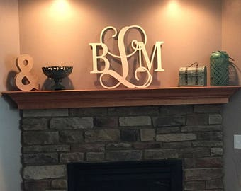 Wooden Monogram Wall Hanging monogram wall letter | etsy