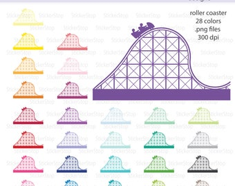 Roller Coaster Clipart 28 colors, PNG Digital Clipart - Instant download - sunglasses