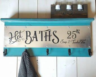 Bathroom Hot Baths Towel Rack With Hooks - Galvanized Decor - Modern Towel Hooks - Industrial Bathroom Decor - Housewarming Gift