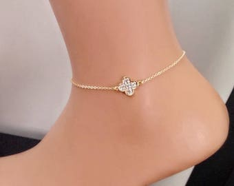 Gold Plated Jewelry , Anklet,Ankle Bracelet, Gold Rhinestone Charm, Gold Jewelry, Fashion Jewelry, Gift for Her, Christmas Sale, Birthday