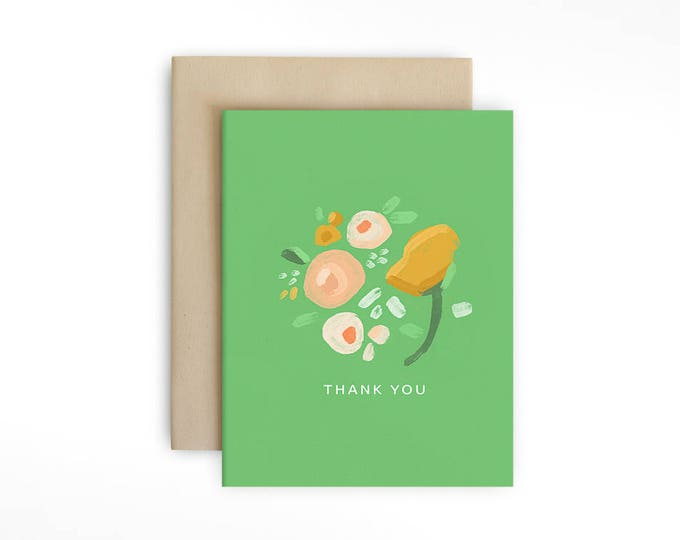 Painted Florals Thank You Card