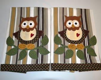 Owl Appliqued Kitchen Towels