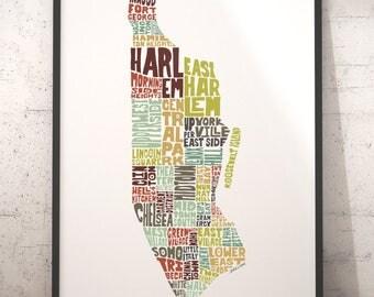 Manhattan map art, Manhattan art print, Manhattan typography map, map of Manhattan, Manhattan neighborhood map, choose color & size