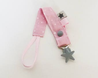 Pacifier clip-stars - pink - grey - white pattern fabric