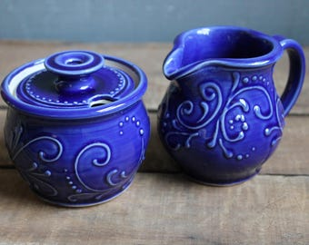 Cream and Sugar Set, Cobalt Blue, Creamer, Sugar Bowl, Handmade, Ceramic, Mothers Day gift, present, MADE TO ORDER