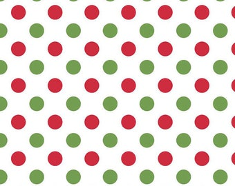 Christmas Fabric, Red, Green/Choose Medium or Small Polka Dots/Cotton Yardage/Sewing Material/Quilt, Craft/Fat Quarter, Half, By The Yard