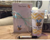 Personalized  Teacher Bee notepad pen and tumbler set Teacher notepads teacher tumblers Teacher Gifts
