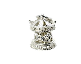 Sterling Silver Moving Carousel Charm For Bracelets