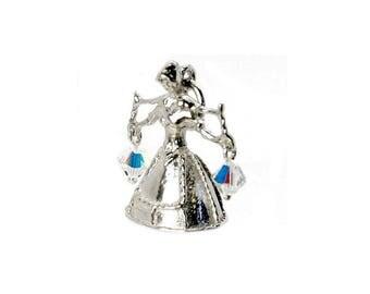 Sterling Silver & Crystal Set Milk Maid Charm For Bracelets