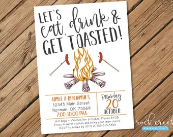 eat drink get toasted invitation bonfire party invitation backyard bonfire invitation printable - Bonfire Party Invitations