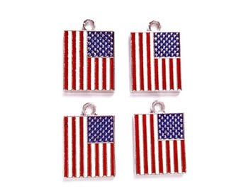 4 American Flag Charms - 21-37-11