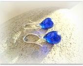 Teardrop Intense Dark Blue Electric Blue Earrings Czech Crystal Earrings Etsy UK Blue Bridesmaid Earrings Glass Tear Drop Earrings